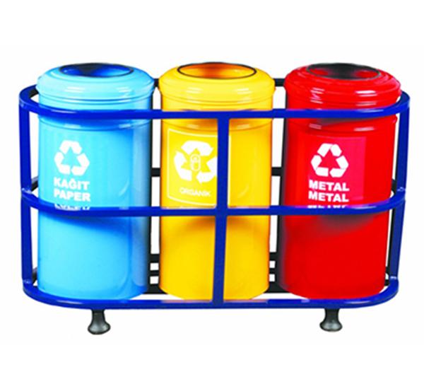 Üç Bazalı Boyalı Geri Dönüşüm Çöp Kovası