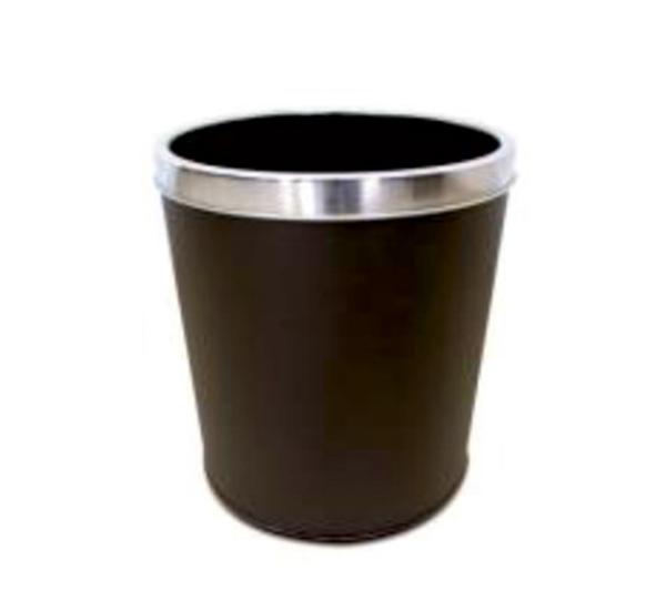 12 Lt Deri Kaplı Paslanmaz Çemberli Çöp Kovası